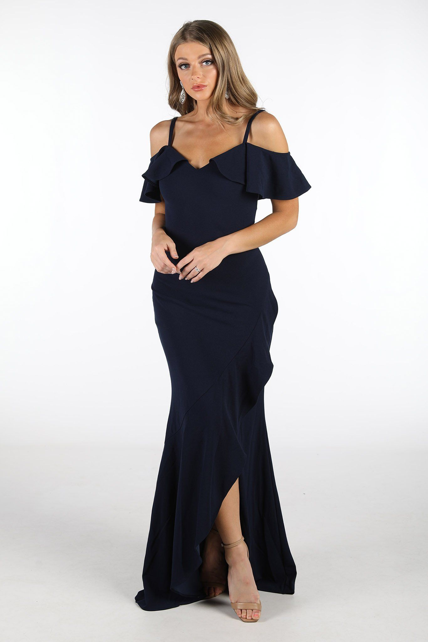 Navy Maxi Floor Length Dress with Ruffled Off-Shoulder Neckline, and Ruffled Front Split