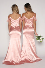 Light Pink Satin Floor Length Maxi Bridesmaids Dress with V-neckline, Cascading Ruffle Sleeve Detail, Thin Shoulder Straps, Open Back and Fit and Flare Silhouette