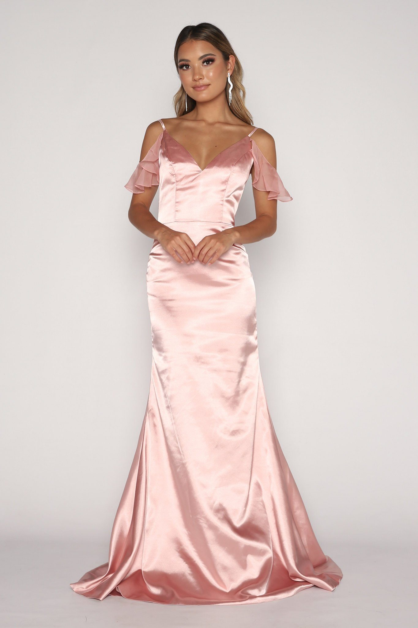 Light Pink Satin Floor Length Maxi Dress with V-neckline, Cascading Ruffle Sleeve Detail, Thin Shoulder Straps, Open Back and Fit and Flare Silhouette