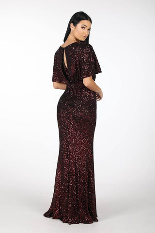 Margaret Butterfly-Sleeve Sequin Maxi Dress - Burgundy