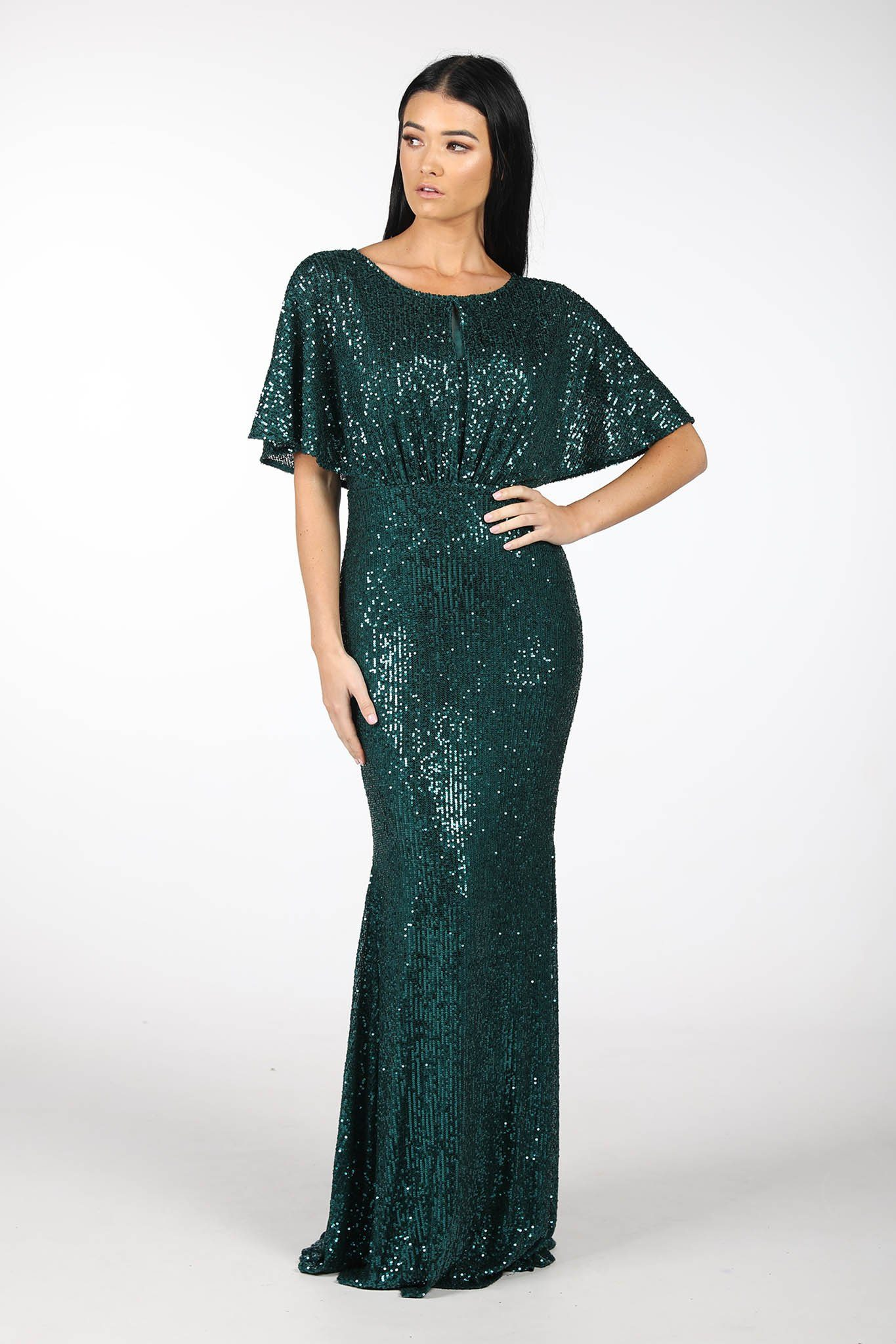 Emerald Green Sequin Fitted Full Length Maxi Dress with Butterfly Sleeves