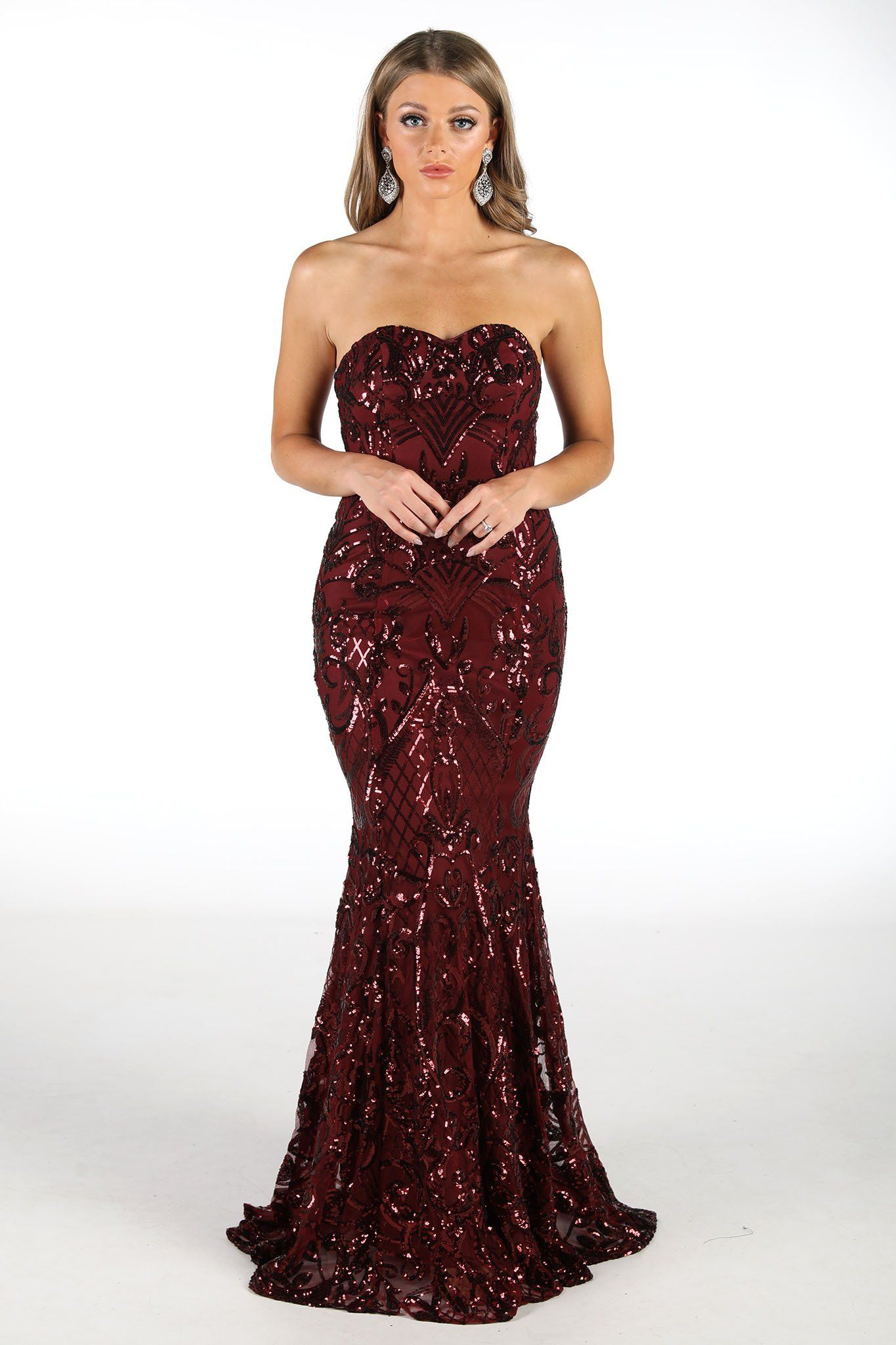 Embroidered Pattern Sequin Floor Length Dress in Deep Burgundy Colour with Sweetheart Neckline and Form-Fitting Gently Flared Mermaid Silhouette