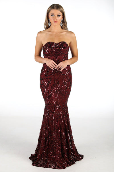 Margot Sequin Gown - Burgundy