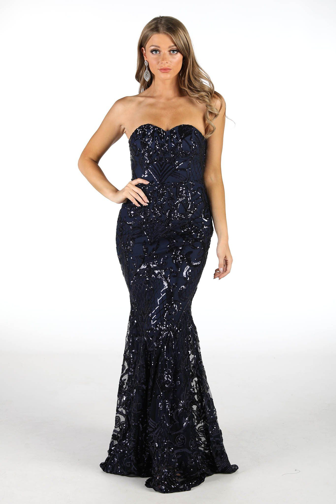 Embroidered Pattern Sequin Floor Length Dress in Navy Colour with Sweetheart Neckline and Form-Fitting Gently Flared Mermaid Silhouette