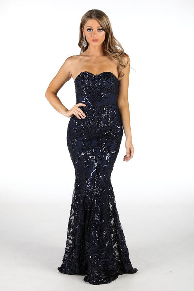 Margot Sequin Gown - Navy