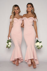 Maxine Off The Shoulder Fishtail Dress - Blush Pink