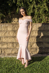 Blush pink maxi length dress with off-shoulder sweetheart neckline and high low fishtail hem