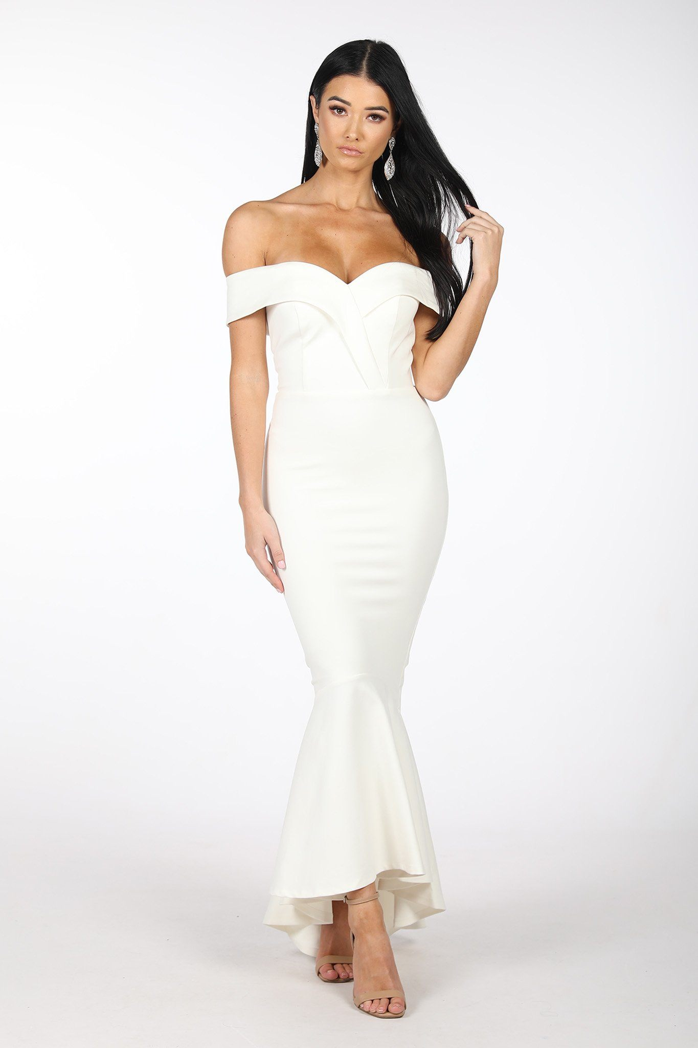 Maxine Off The Shoulder Fishtail Dress - Ivory