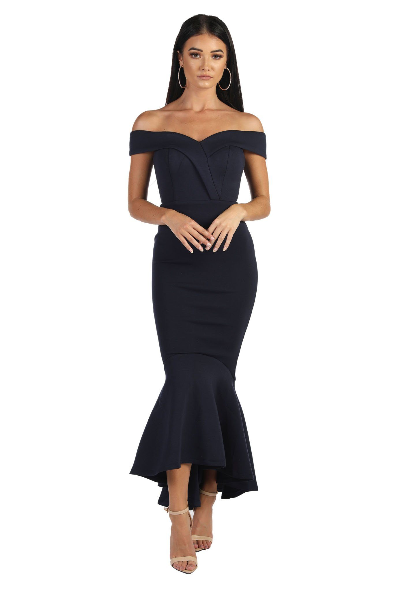 b64771829d Navy maxi length dress with off-shoulder sweetheart neckline and high low fishtail  hem