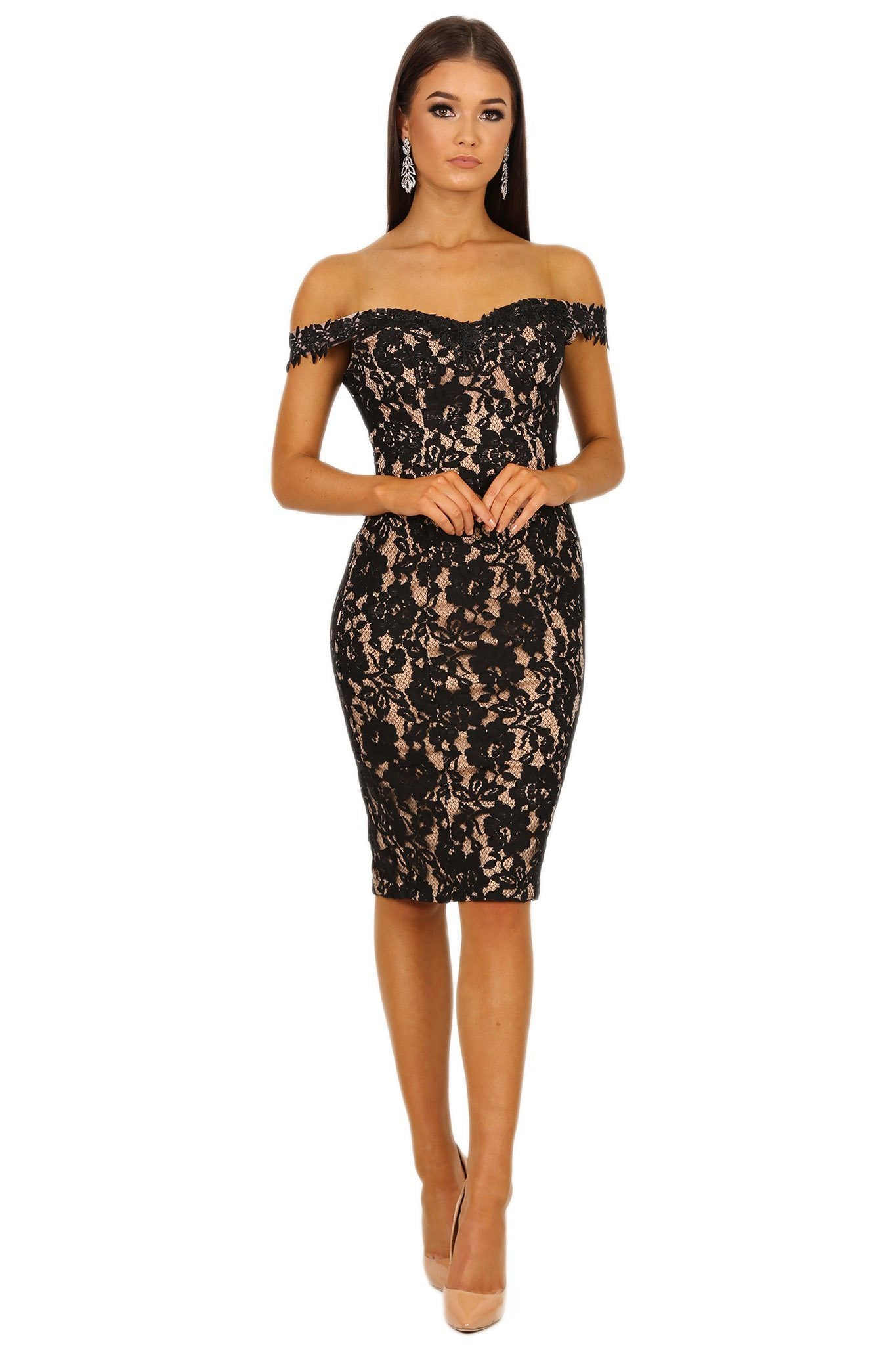 Black lace knee-length dress with beige nude illusion underlay, off the shoulder design, sweetheart neckline