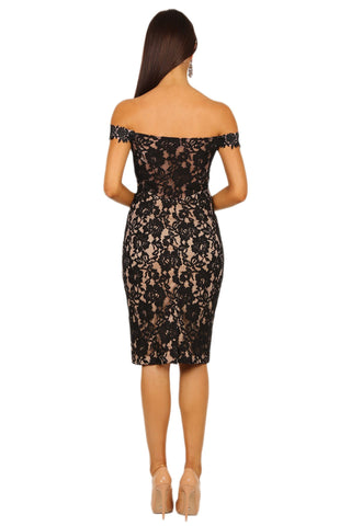 Mia Dress - Black/Beige