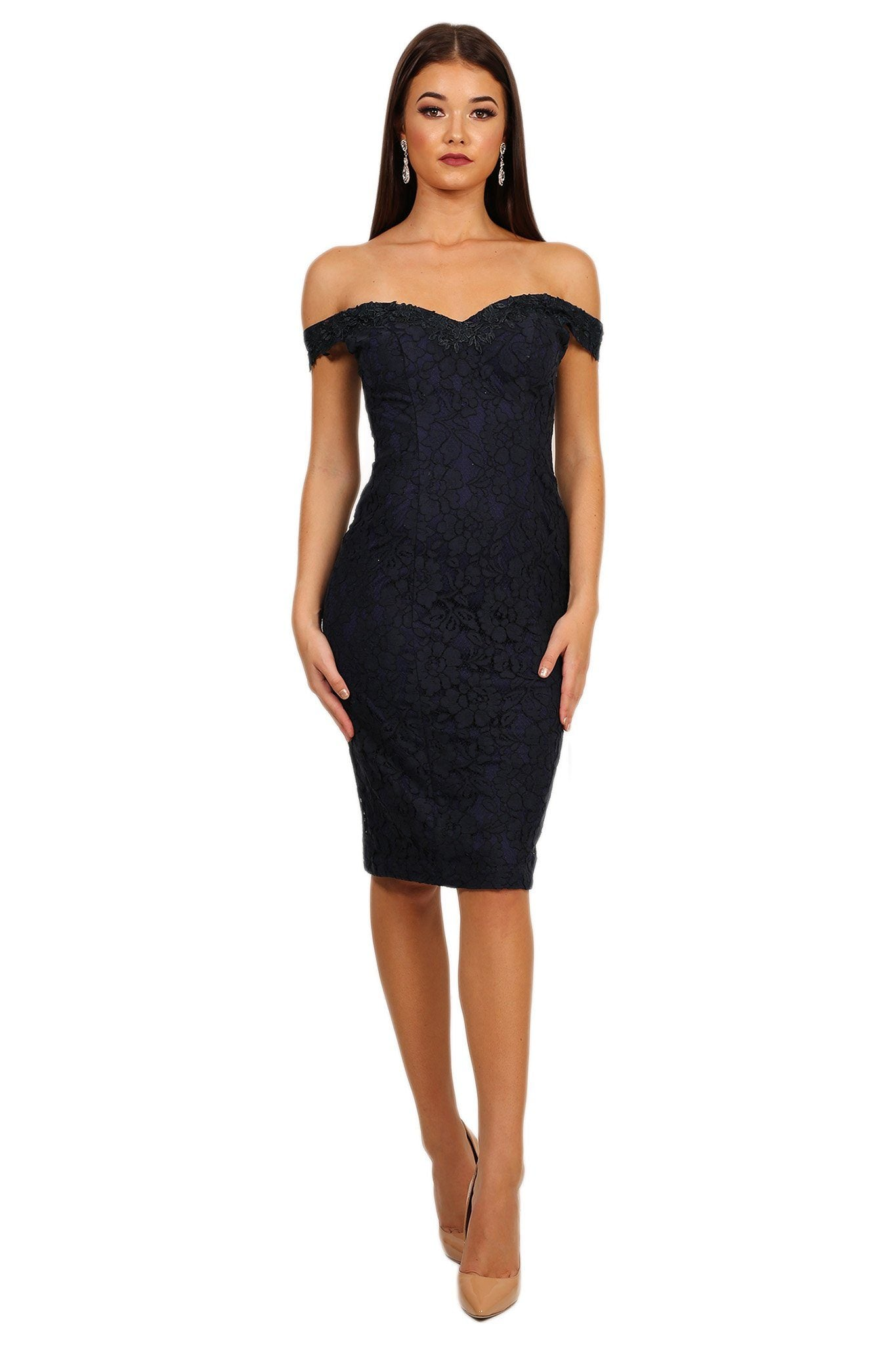 Navy dark blue lace knee-length dress, off the shoulder design, sweetheart neckline with hidden shoulder straps