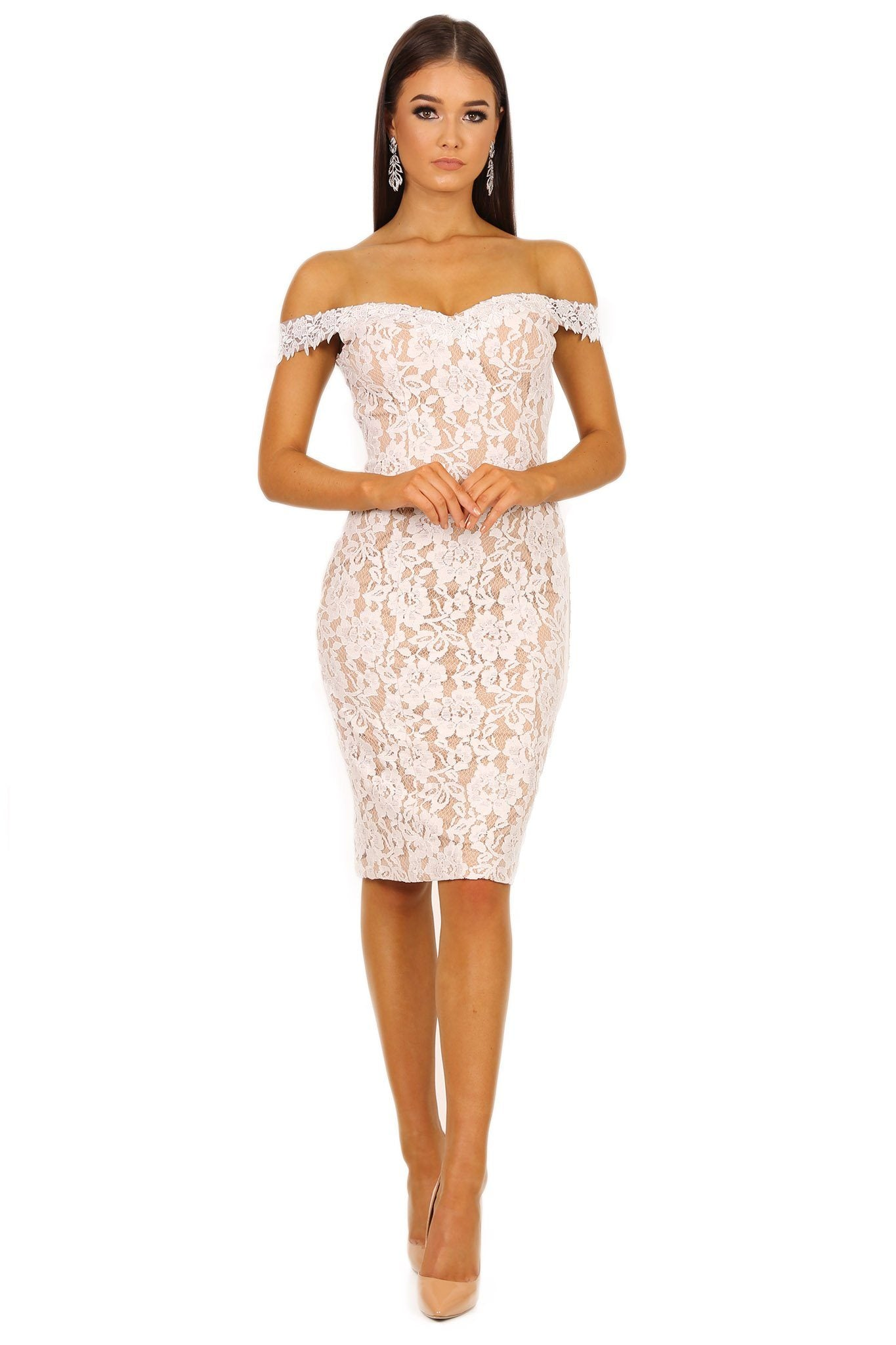 cf466751d White lace knee-length dress with beige nude illusion underlay, off the  shoulder design