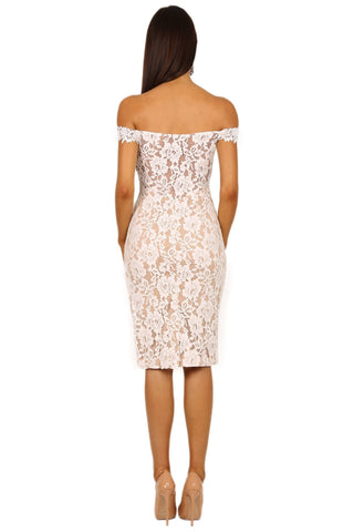 Mia Dress - White/Beige