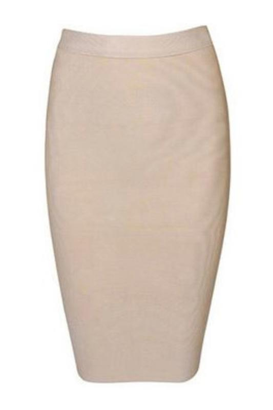 Midi knee length bandage pencil skirt in beige nude colour