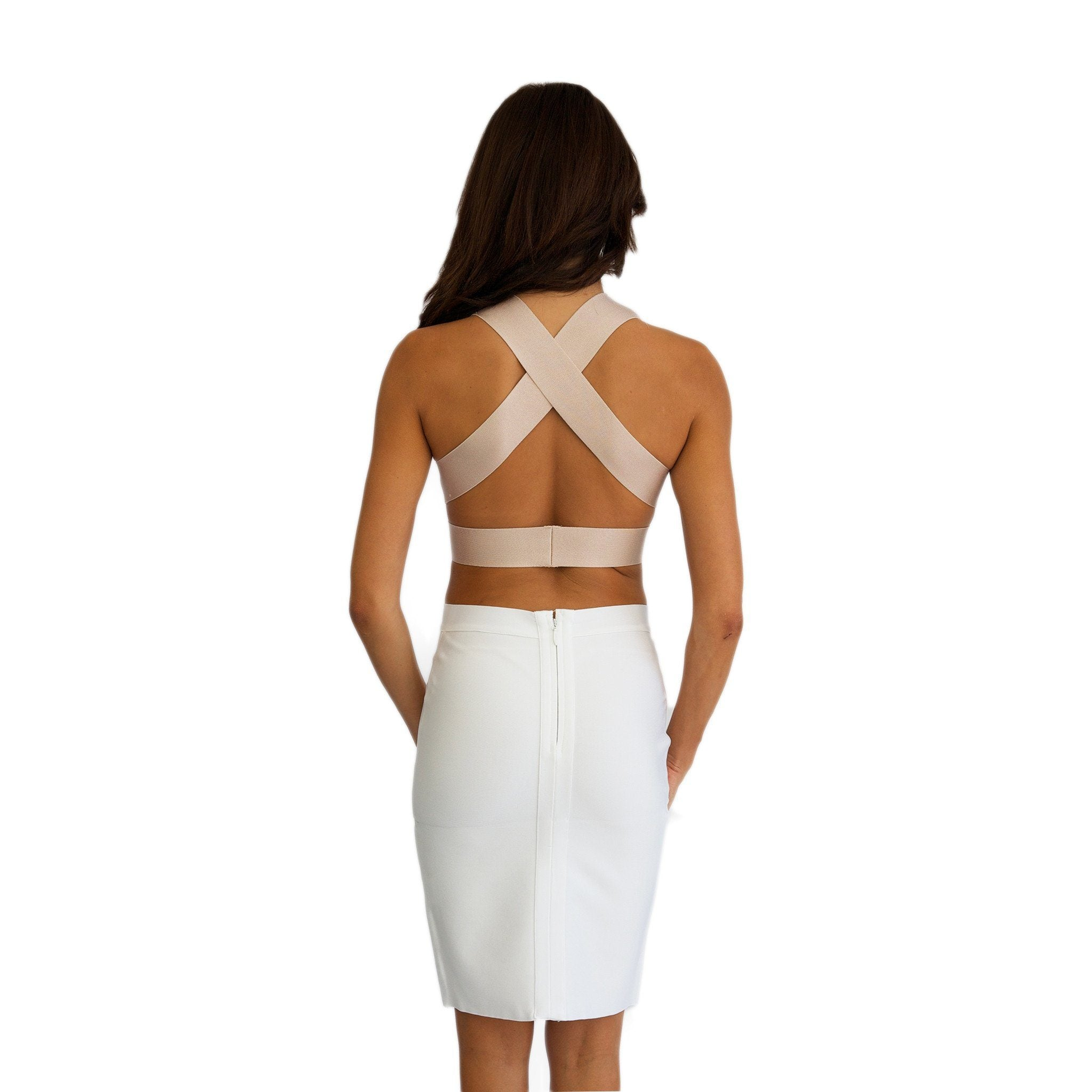 8d03406cb52370 ... Back of Kylie Jenner inspired outfit featuring stretchy thick quality  two-piece bandage dress set ...