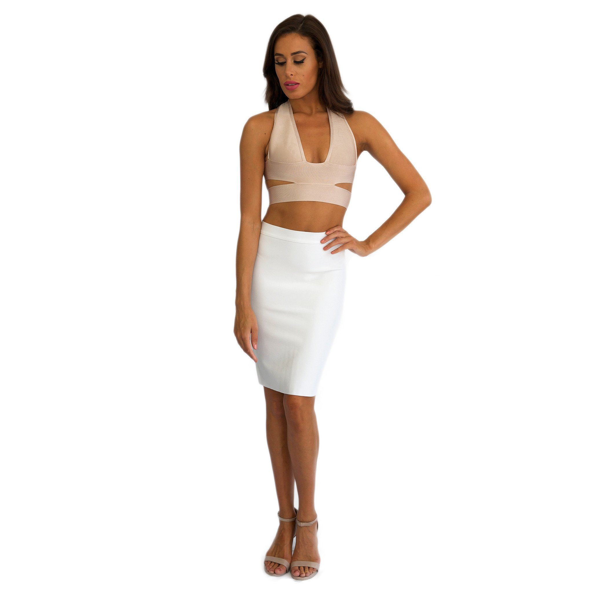 20ec7f18e538c5 ... Kylie Jenner inspired outfit featuring stretchy thick quality two-piece  bandage dress set with nude ...