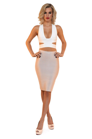 Midi Pencil Bandage Skirt - Nude/White/Red/Grey/Black/Pink