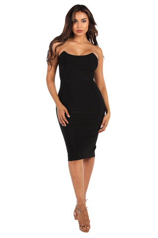 Milani Strapless Bandage Midi Dress - Black