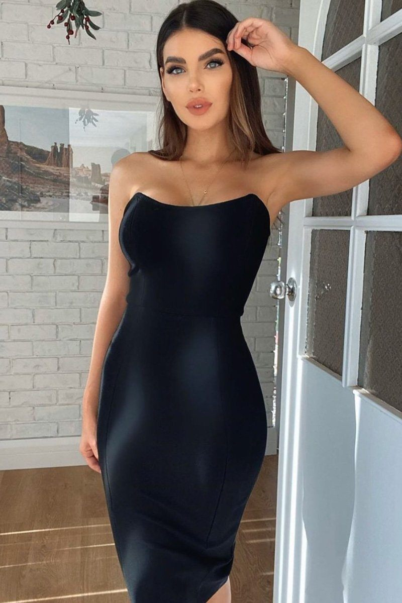 Black Midi Bandage Dress with Curved Strapless Neckline