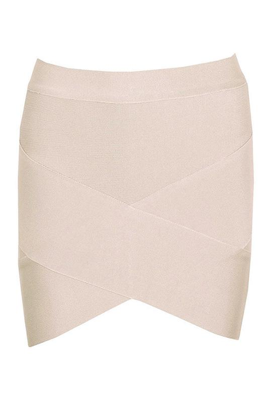 Mini above knee bodycon bandage skirt arched asymetrical hem in nude color