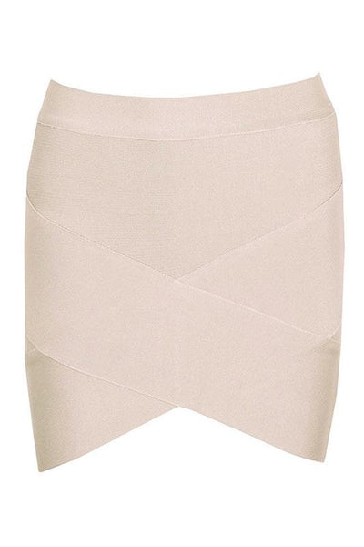 Mini Arched Hem Bandage Skirt - Nude