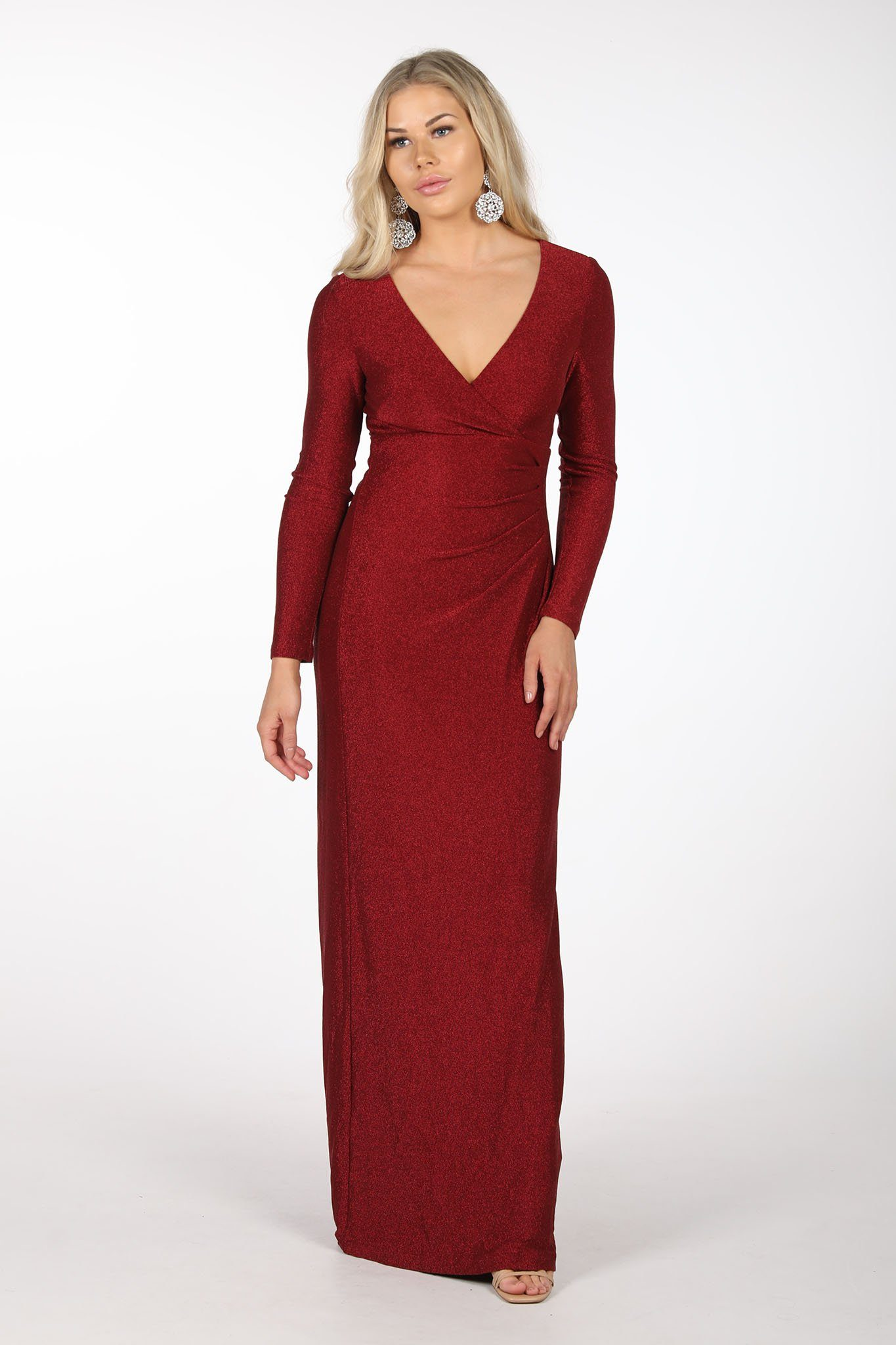 Deep Red Glitter Bodycon Column Maxi Dress with Long Sleeves, V Neck and Pleating Details at Waist
