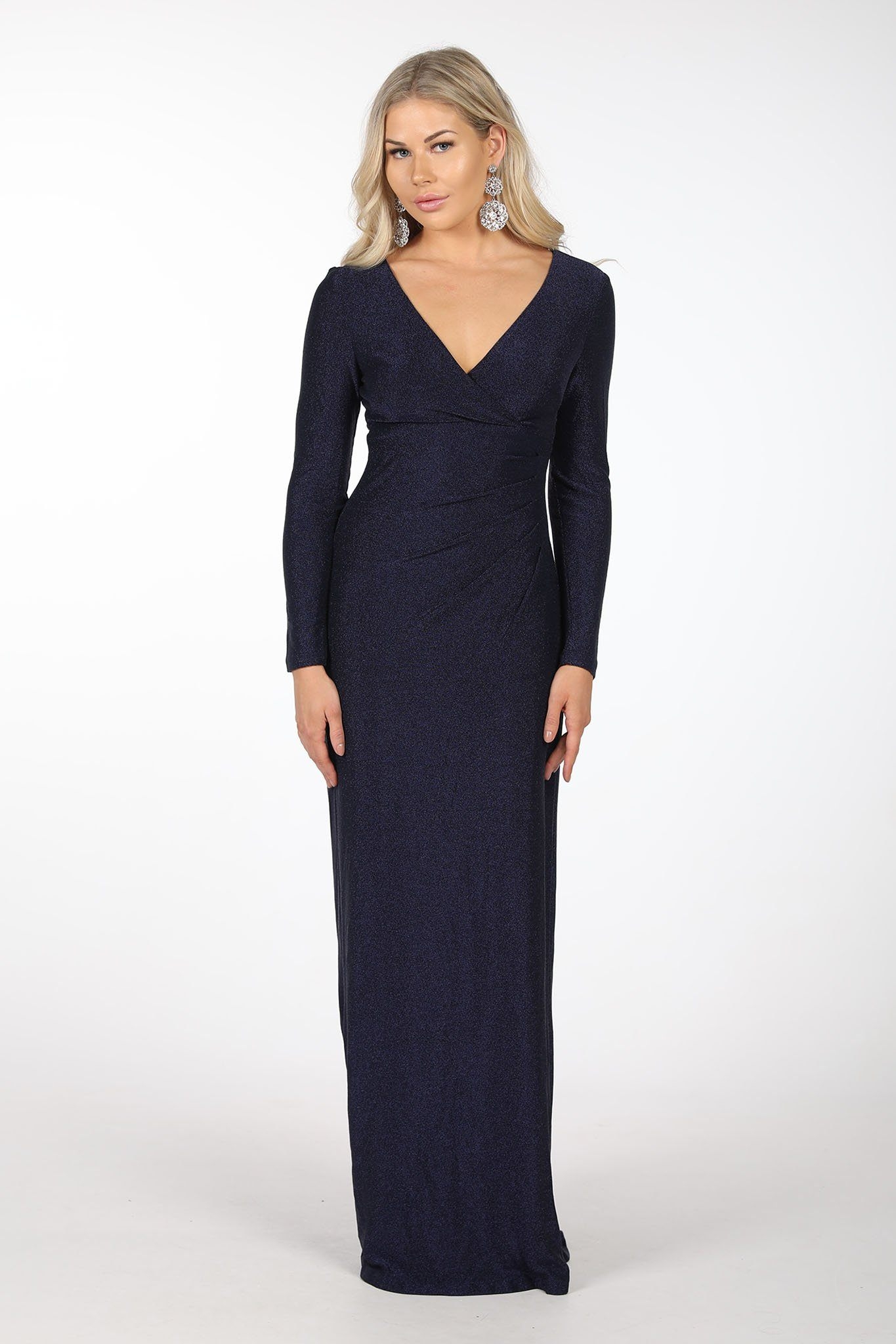 Navy Blue Glitter Bodycon Column Maxi Dress with Long Sleeves, V Neck and Pleating Details at Waist