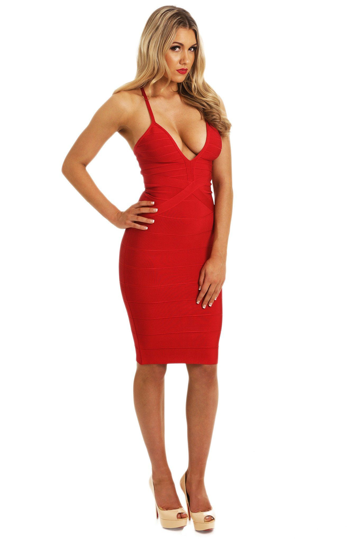 Red bodycon midi bandage dress thin shoulder straps V plunging neckline