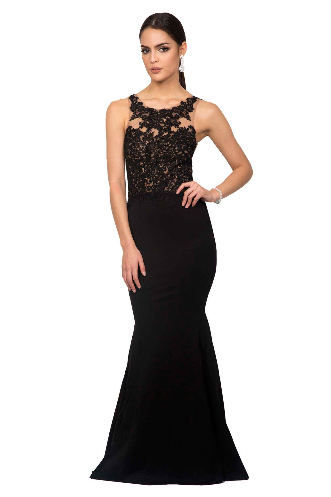 Black sleeveless floor-length evening lace gown with nude illusion mesh detailing, fitted style, and mermaid silhouette