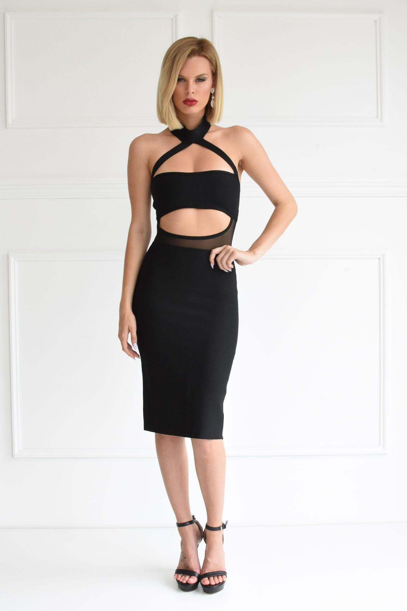 Front of black midi bodycon bandage dress featuring halter chocker neckline, bandeau top, open stomach design