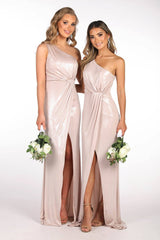 Champagne Coloured Floor Length Bridesmaid Formal Evening Dresses in Glossy Slinky Material with Asymmetrical One Shoulder Neckline, Ruched Waist, Above Knee High Slit, and a Column Styled Silhouette
