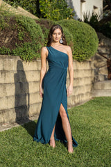 One Shoulder Maxi-Length Formal Dress with Asymmetrical One Shoulder Neckline, Ruched Waist, Above Knee High Slit, and a Column Styled Silhouette in Deep Teal Green Colour