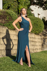 Maxi-Length Dress with Asymmetrical One Shoulder Neckline, Ruched Waist, Above Knee High Slit, and a Column Styled Silhouette in Deep Teal Green Colour