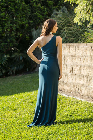 NELIA One Shoulder Maxi Column Dress - Deep Teal