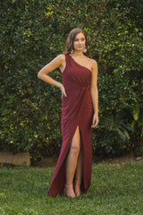 Maxi-Length Dress with Asymmetrical One Shoulder Neckline, Ruched Waist, Above Knee High Slit, and a Column Styled Silhouette in Wine Colour
