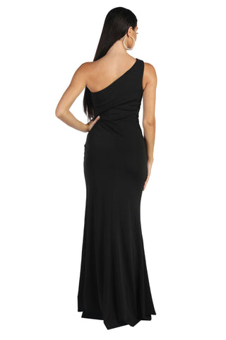 NELIA One Shoulder Maxi Column Dress - Black