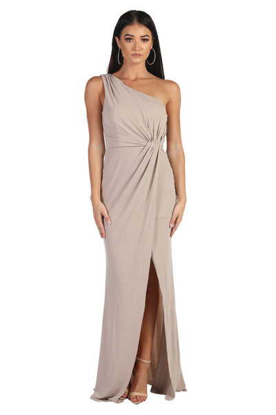 NELIA One Shoulder Maxi Column Dress - Nude