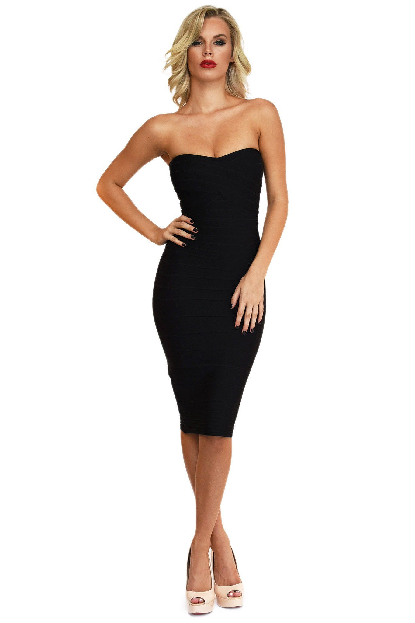 Front of black midi strapless bodycon bandage dress with sweetheart neckline