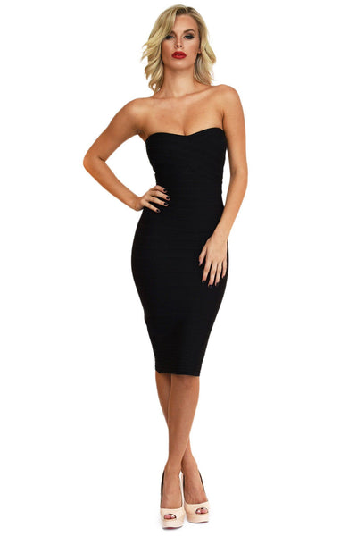 Nadia Midi Dress in Black