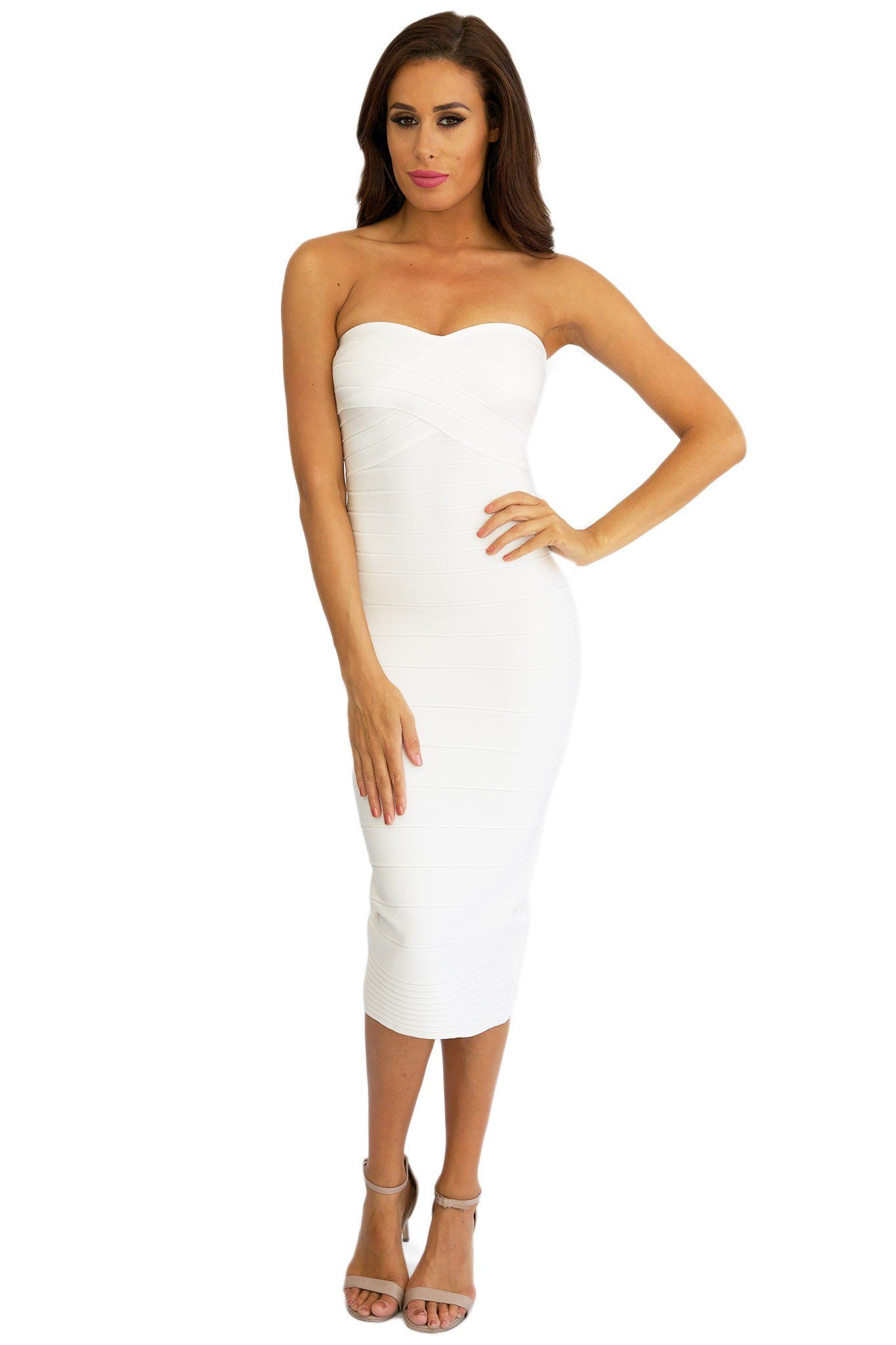 White below knee length strapless form fitted bandage dress subtle sweetheart neckline