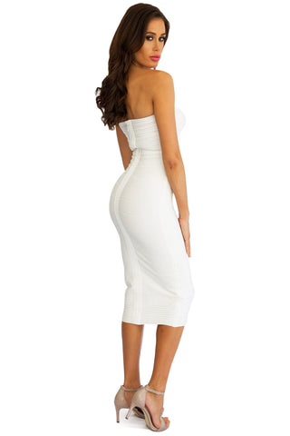 Natalie Below-Knee Midi Dress in White