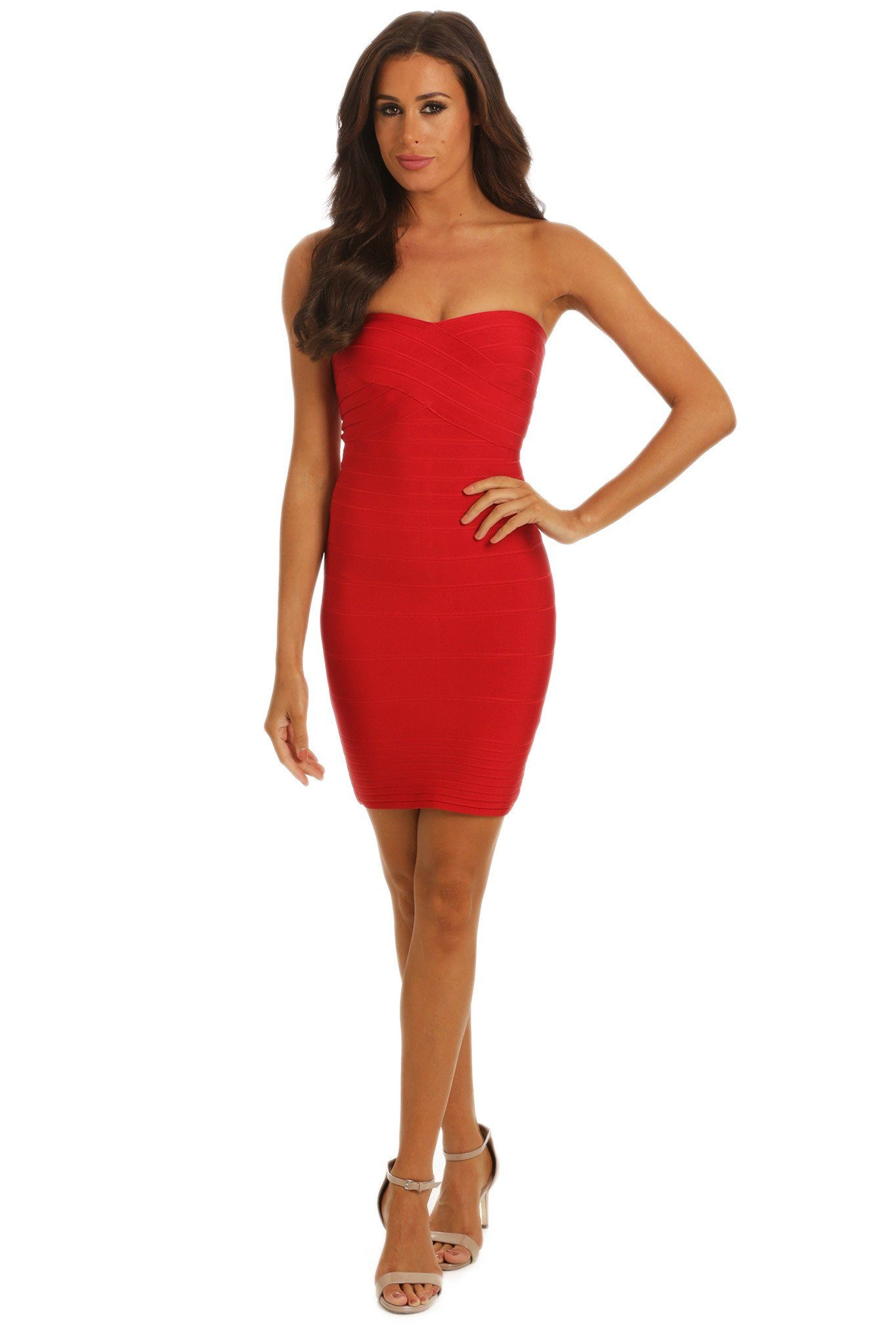 Red mini strapless bandage dress sweetheart neckline