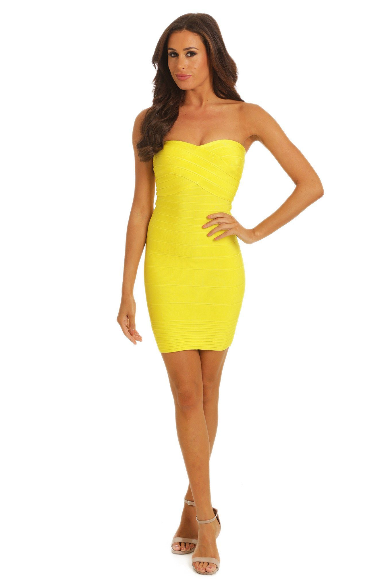 Yellow short strapless bandage dress curve-hugging sweetheart neckline