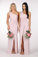 Dusty Pink One Shoulder Maxi-Length Bridesmaid Dresses with Asymmetrical Neckline, Ruched Waist, Above Knee High Slit, and a Column Styled Silhouette