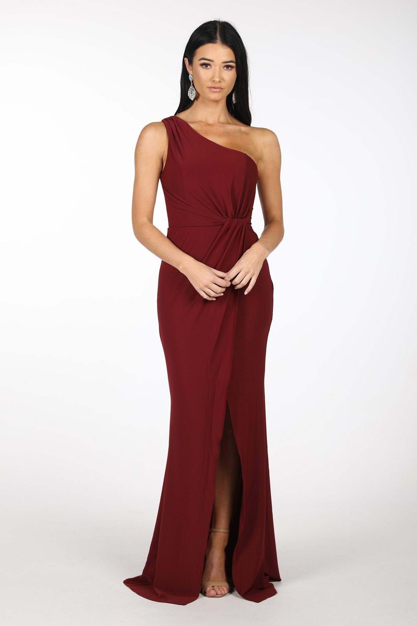 Burgundy Deep Red One Shoulder Formal Dress with Asymmetrical One Shoulder Neckline, Ruched Waist, Above Knee Slit, and a Column Styled Silhouette
