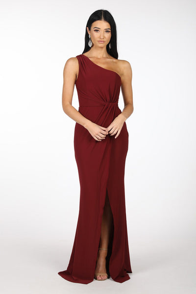 NELIA One Shoulder Maxi Column Dress - Wine