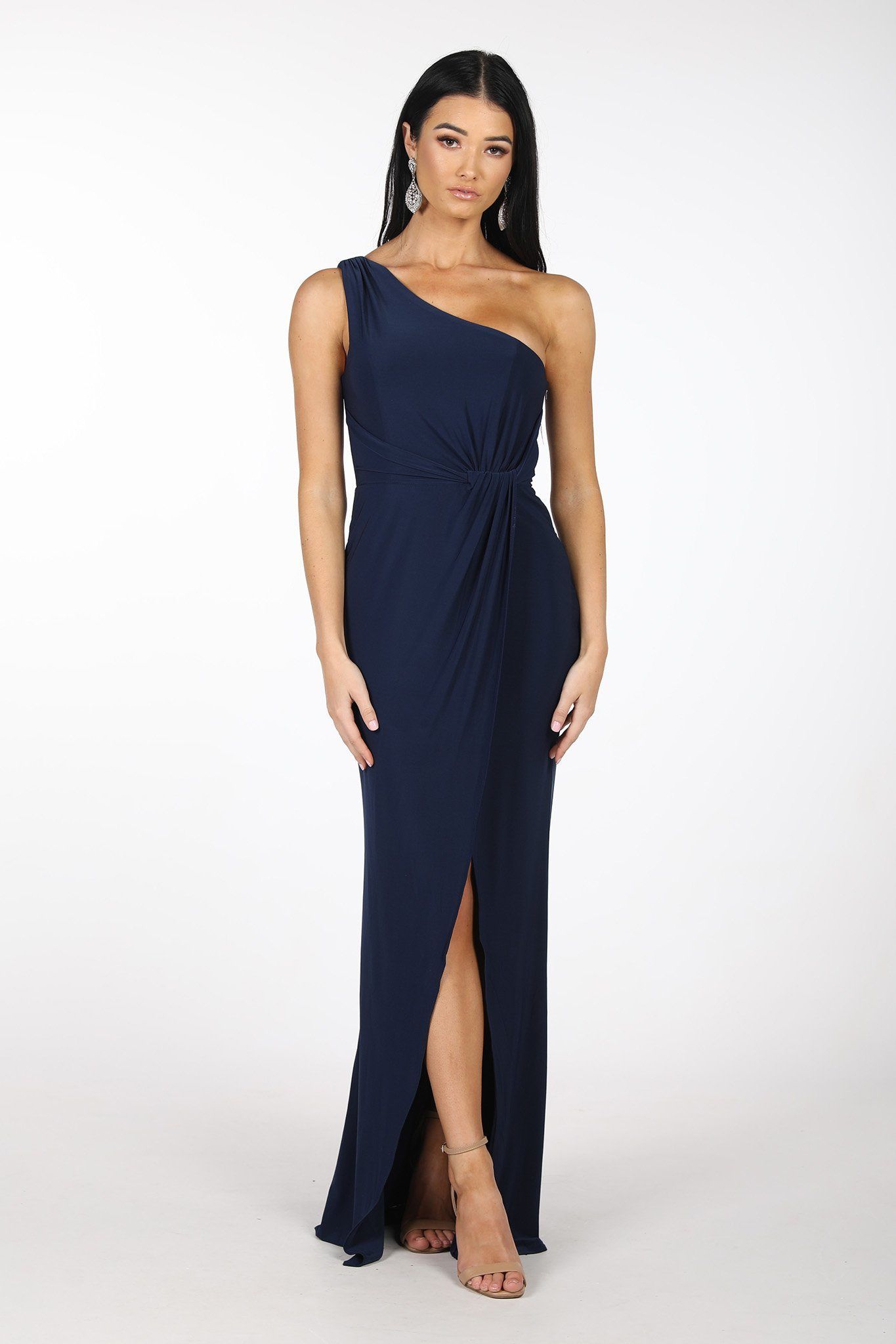Maxi-Length Dress with Asymmetrical One Shoulder Neckline, Ruched Waist, Above Knee High Slit, and a Column Styled Silhouette in Navy Colour