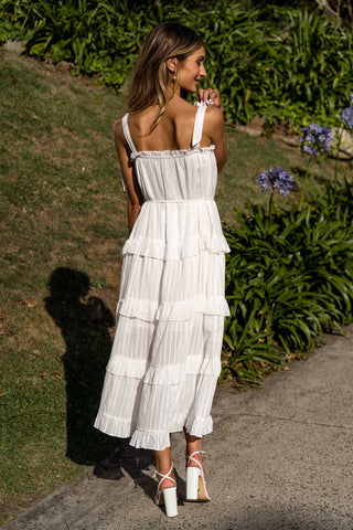 Ocean Breeze Summer Midi Dress in White