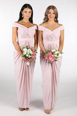 Blush Pink Slinky Bridesmaids Dresses with Crossover Off-Shoulder Neckline, Tiered Slim Skirt with Front Split